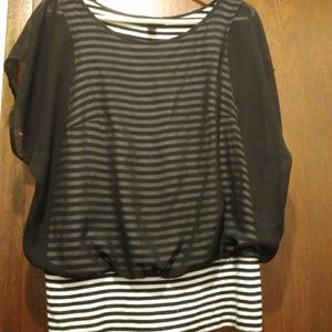 AB Studio Size Small Sheer Striped Tank